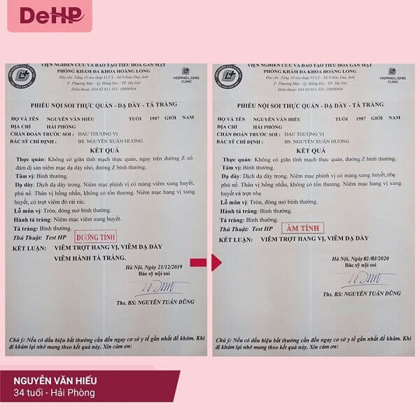 Khách hàng sử dụng DeHP có kết quả đào thải HP từ dương tính về âm tính