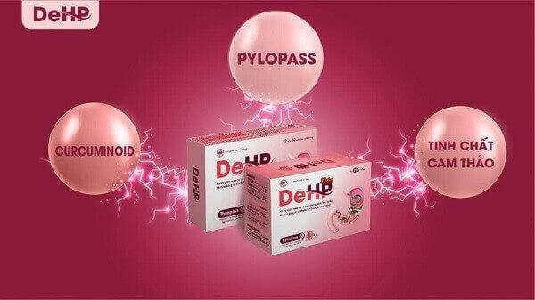 DeHP có thành phần chính là Pylopass – Nguyên liệu tiên tiến nhất có khả năng đào thải trực tiếp HP